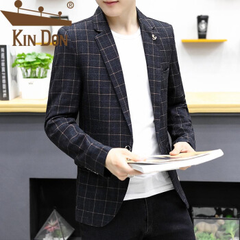 金盾(KIN DON)スーツ2019春新品ジャケットチェックの小さい洋服韓国式ヘアスタイリストおしゃれ815-622灰色XXL