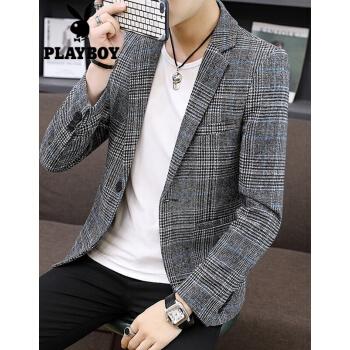 プレイボーイスーツ男性おしゃれ韓国式修身イケメンパーマフリースーツ男性ビジネススーツスーツスーツスーツスーツスーツ空色XL