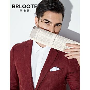 Brloote/バルトウールサンシルクスーツ男性春ビジネス略装スーツ便西外套赤色175/96 A