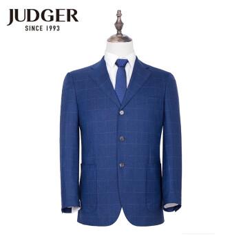 庄吉(Judger)中年のチェックのスーツの上着100%ウールの3つのボタンを少し詰めます。スーツの男性の大きいサイズのゆったりしたスーツの上着のサファイア色175/50 B