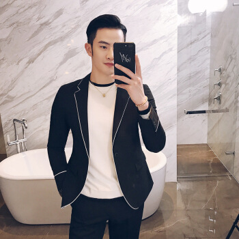 【京東好】秋冬男性の白い長袖のレギンスと小さなスーツの二点セット。ナイン修身ナイトKTVスーツセット黒M