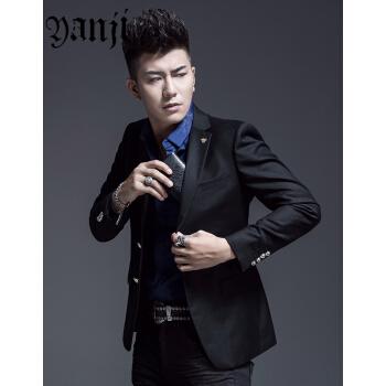 言吉YANJI男性ウールスーツ単西外套蜘蛛刺繍韓国式修身おしゃれ少しスーツ男性2018秋黒52/XL