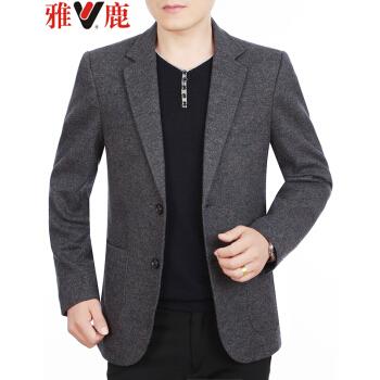 アイ鹿スーツ男性2019春秋新品メンズ薄いウールです。スーツの中年の西ジャケットを少し詰めて修身します。父はグレーの色を入れます。58617 180/XL