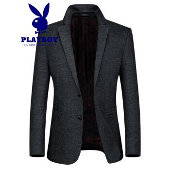 プレイボーイウールです。スーツの男性は年齢と年齢を少し詰めて、新しいビジネス修身型ウールラシャのスーツのジャケットは深灰色XXL(140斤-155斤)です。