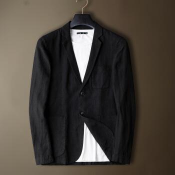 真欧の萱の亜麻のスーツの男性の秋の新商品の色の中国風の粗布のオーバーの薄いタイプの小さいスーツは上着の男性の単西のHX 1708黒の170 Mを少し詰めます。