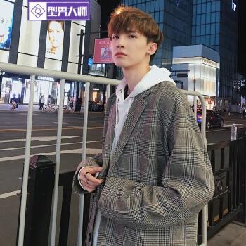 型男マスター2018秋新品のinsチェックスーツ韓国式学生ゆったり復古港風chic小さいスーツジャケット男性格子XL