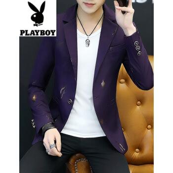 プレイボーイ2019新品男性スーツとファッションの色がやや小さいスーツ男性韓国式修身個性プリントの折り襟の薄いジャケットの紫L