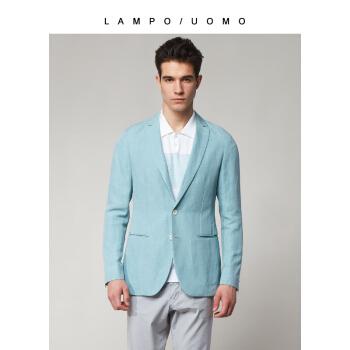 LAMPO/ブルー豹18新品メンズスーツのシルク麻混メントールミントグリーンの修身を少し詰めました。