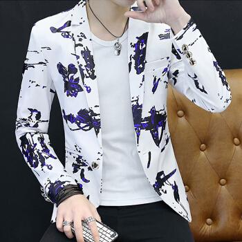 富貴鳥おしゃれ青少年プリント修身小スーツ大サイズファッションスーツ男性上着8817白L