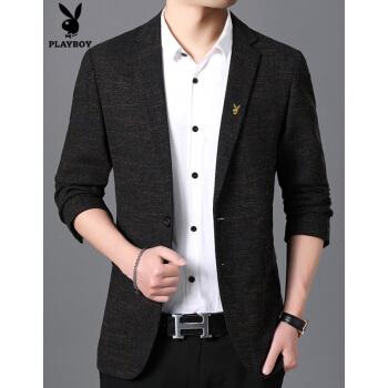 プレイボーイスーツ男性秋新作スーツファッションカジュアルビジネススーツ西青年韓国式正装コーヒー色175/L 48