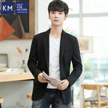 KM KILO KM&METERS 2019春新品男性ビジネススーツ定番純色長袖男性西黒175/XL