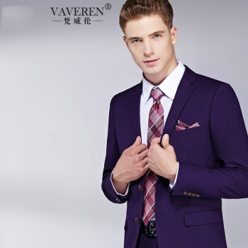 梵威倫ブランド2019新品男性スーツ結婚スーツ男性ファッション新郎礼服スミレダブルボタン(上着+ズボン)XL