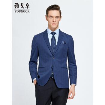 Youngor/アゴアスーツの男性はスーツを少し詰めています。男性は春の服装をしています。男性は私服のデパートです。ビジネス用の略装は170/96 Aです。