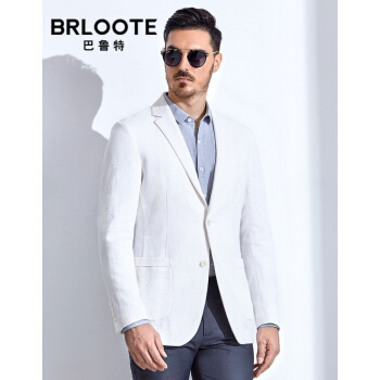 Brloote/バルトメンズスーツ2019春服新品ファッションビジネス便西男綿麻修身ホワイト単品スーツ外套185/104 A