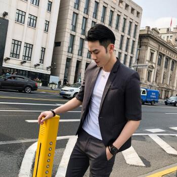 スーツ男性修身ファッションブランドビジネススーツ2019春新品男性スーツ韓国式修身タイプスーツ青年スーツ2点セット灰色S