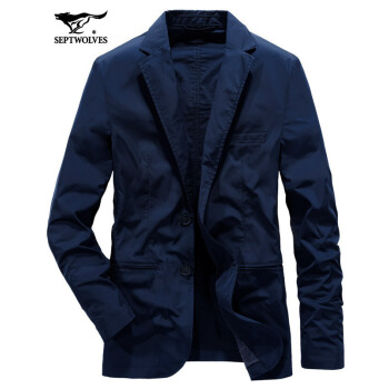 【紅男シリーズ】7匹のオカミ2019春新品スーツ男性薄手男性コートビジネスブランドスーツ青年修身101(紺)52 A/185