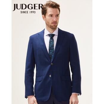 【新品】庄吉(judger)チェックのスーツを少し詰めて空気を通す夏の薄手の男性用ジャケット100%ウール2粒ボタン男性用スーツブルーチェック175/50 B