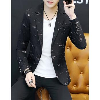 卡鲁微春季の男性はスーツの新商品の韓国式プリントの小さいスーツの上着の男性は身を修める格好が良い青年の単に西のオーバーの黒色のMを少し詰めて95-15斤を着ます。