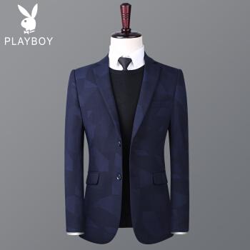 プレイボーイの新商品の黒いスーツの男性の上着の青年はちょっと西のビジネススーツの上着の青い1836 165を装飾します。