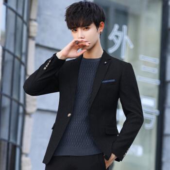 布彦スーツ男性秋季スーツビジネス修身韓国式青年かっこいいおしゃれスーツ男性単品上着単品スーツ男性2019新品黒L