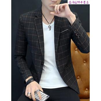 公式の旗艦店の小さいスーツの上着の男性2019春にスーツのジャケットの男性の格子の小さいスーツの男性の韓国式の新型のおしゃれの修身する格好が良い西の暗い灰色の3 XLを少し詰めます。
