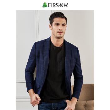 FIRSFIRSスーツ男性2019春新作ファッション少し格子を詰めます。西はウールのスーツの上着を含みます。男性185 A