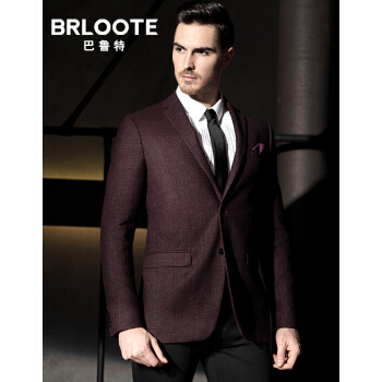 Brloote/バロット男性ビジネススーツ男性修身スーツ西便西秋外套酒红170/92 A