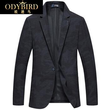 欧迪鳥の軽贅沢ブランド2019春モデルの男性はスーツの青年ファッション修身小さいスーツの薄手の単品の西ジャケットの黒185/100 XLを少し詰めます。