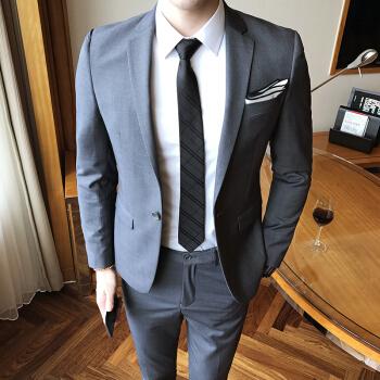 プレイボーイ(PLAYBOY)スーツ男性修身英倫ビジネススーツスーツスーツ男性韓式新郎結婚ドレス職業服深灰色XL