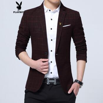 プレイボーイスーツ男性春季新品ビッグサイズビジネススーツスーツ男性修身韓国式スーツ赤175/XL