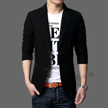2019おじゃれファッション春の夏の新作春と秋の薄手のスーツの男性と韓国式の修身純綿の小さいスーツの青年の上着の湿った男性の普段着のファッションは3628黒XLが流行しています。