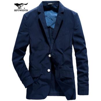 七匹のオカミスーツ男性中年外套春秋ビジネススーツ私服一西修身百合メーズ102(深蓝)48 A