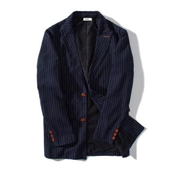 2019春秋新品男性スーツ復古日系綿麻修身ボーダー男性スーツ襟カバー紺色M