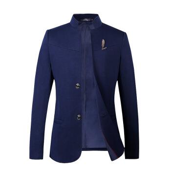 男性の青年の中山装の立襟のスーツの男性は身を修めるスーツの上着の秋冬の中国風の礼服の男性は少しチベットの青い5 XLを詰めます/提案の155-155斤