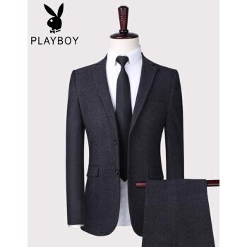 プレイボーイスーツスーツ男性ビジネススーツスーツ大学生通勤服灰色二点セット185