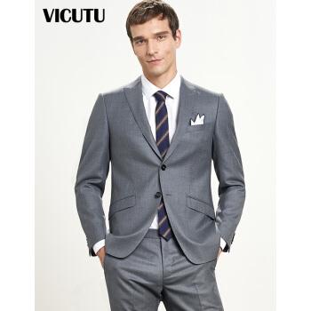 ビクトルVICUTU男性スーツスーツスーツスーツの上着ビジネスは灰色のウールスーツの修身ジャケット男性VR 9112940灰色の175/96 Bを少し詰めます。