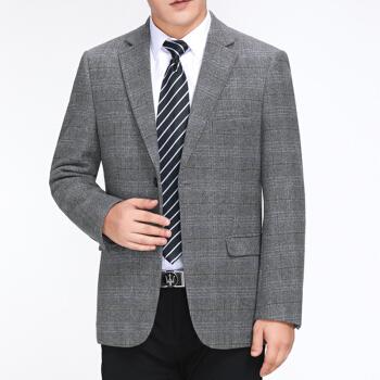 2019春秋の新品高級ビジネス少し便西スーツ中年男性GBURADAブランドはフォークを開けず、薄いウール単品の西スーツのゆったり型チェックコート1833種類の灰色の2粒は175/50ボタンを掛けます。