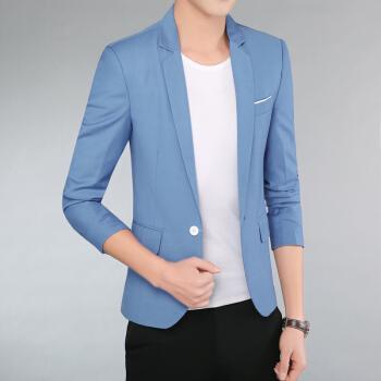 19新品半袖メンズ薄い7分袖カッコイイスです。ツハガの空色XL(125-140斤をおします。)