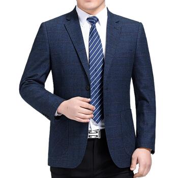 正品のメーンズの恒源祥男性のスーツは2019年の春と秋の新商品です。私服は西のウールを少し詰めたスーツです。大きいサイズのチェックのスーツは青の175/92 Aです。