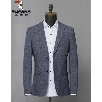 キツツキ2019春の服装新品男性ビジネス少し格子スーツ青年韓国式修身スーツ男性しわ止め単西外套灰色M/170
