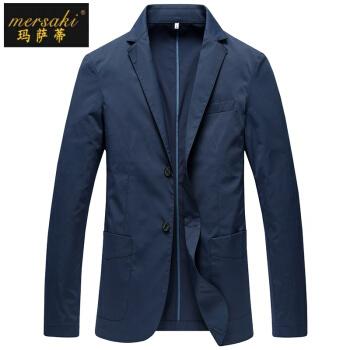 マカティの軽豪华ブランドメンズ2019春新品男性、スーツを少し詰めて薄手で身を修める韩式小さいスーツビジネス単西ジャケット男性青170/88 M