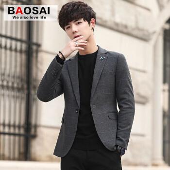 トーチカスーツ男性修身韓国式ビジネススーツ男性春季チェックコート単西コート灰色XL