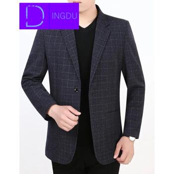 春と秋の新商品の中年男性はスーツの単品の上着の中で高齢男性のスーツの薄いタイプのコートの深い灰(格子の種類)の175/76(138-153斤を提案します)を少し詰めます。