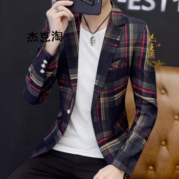 ジャックは香港のファッションブランドを淘汰します。2019年春の新品ファッションのボーダースーツに男性の2つのセットは韓国式のストライプを修理します。スーツの男性の赤い上着XLを少し詰めて修身します。
