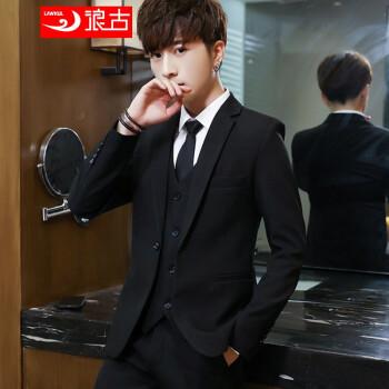 浪古略装スーツ男韓式おしゃれチェックの小さいスーツメンズスーツ青少年服に身を修める格好良いスーツ春秋男性コート単西黒3 XL