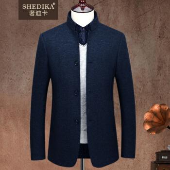デラックスカードブランドの軽豪华メーズの中山装男性の秋の新商品のウールの中に山の男性、中华立襟スーツの秋のビジネス青年がスーツを少し詰めて中国风の毛を修繕します。