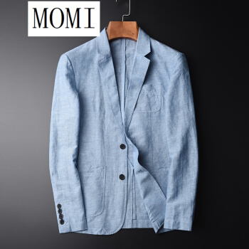 モミの小さいスーツの香港の湿った札の秋は引き分けして味わいます亜麻のスーツの男性の修身する青年の心地良い小さいスーツの綿麻の薄いタイプの単西の外套の湿っている青色の106117/3 XL