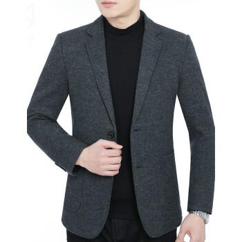 ワニのTシャツ男性スーツ2018新品春スーツ中年メズ修身男性コート毛です。小さいスーツ男性灰色カレー175/L