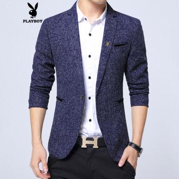 プレイボーイスーツ男性春季薄型新品スーツ男性ジャケット韓国式修身服単衣青年カッコイイスーツブルー170/L