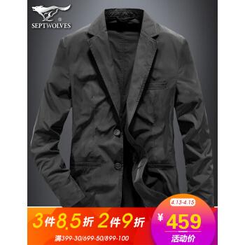 七匹のオカミ春のスーツ男性ビジネス新品薄手のコートスーツ男性青年職業服単スーツ001(黒)48 A